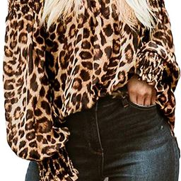 ZANZEA Women's Tops Off The Shoulder Tops Leopard Balloon Sleeves Casual Blouse Sexy Cute Tunic S...   Amazon (US)