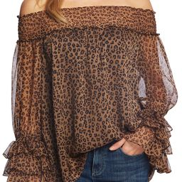 Leopard Print Off the Shoulder Ruffle Blouse   Nordstrom