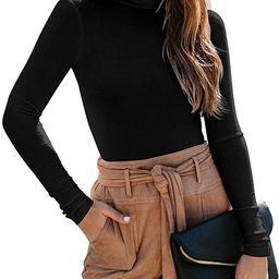 REORIA Women's Long Sleeve Ribbed Turtleneck Leotard Stretchy Bodysuit Tops Jumpsuits   Amazon (US)