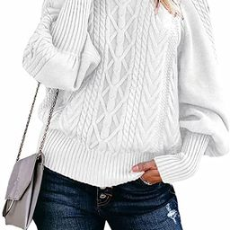Dokotoo Women Solid Turtleneck Balloon Long Sleeve Sweaters Pullover Outerwear   Amazon (US)