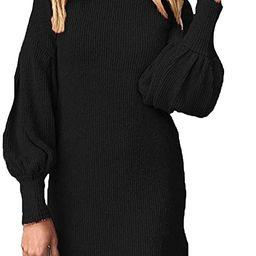 TOLENY Women's Knit Turtleneck Dresses Ballon Sleeve Mini Sweater Dress S-3XL   Amazon (US)