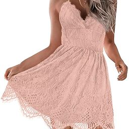 AOOKSMERY Women Summer V-Neck Spaghetti Straps Lace Backless Party Club Beach Mini Midi Dresses   Amazon (US)
