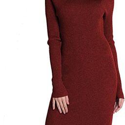 PrettyGuide Women Sweater Turtleneck Ribbed Knit Slim Fit Long Sleeve Midi Sweater Dress   Amazon (US)