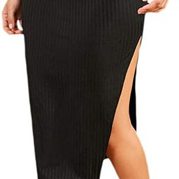 SheIn Women's Casual Rib Knit Split Side Midi Skirt   Amazon (US)