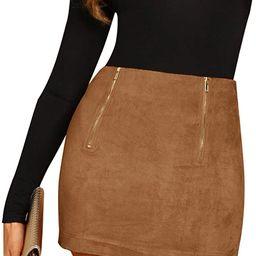 Floerns Women's High Waist Faux Suede Bodycon Pencil Mini Skirt   Amazon (US)