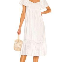 Line & Dot Stephanie Midi Dress in White from Revolve.com | Revolve Clothing (Global)
