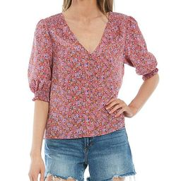 It's A Must Ditsy Print V-Neck Puff Sleeve Button Front Blouse | Dillards