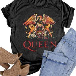 Women Vintage Rock Band T Shirt Fashion Rock Music Graphic Tees Shirt Summer Short Sleeve Casual ... | Amazon (US)