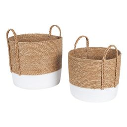 """Mainstays Seagrass & Paper Rope Baskets, Set of 2, 16"""" and 14"""", Storage 