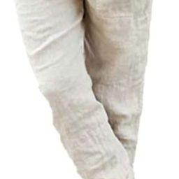 Dokotoo Womens Linen Drawstring Tie Elastic Waist Loose Capri Jogger Cargo Pants with Pockets | Amazon (US)