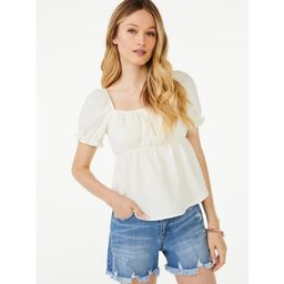Scoop Women's Square Neck Peasant Top with Puff Sleeves   Walmart (US)