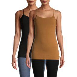 No Boundaries Juniors Shelf Bra Cami with Adjustable Straps, 2-Pack | Walmart (US)