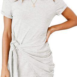 MEROKEETY Women's Short Sleeve Crew Neck T Shirt Dress Tie Waist Ruched Bodycon Mini Dress   Amazon (US)