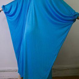 vintage 70s dress, vintage caftan, vintage kaftan, turquoise dress, jersey dress, maxi dress, sli...   Etsy (US)
