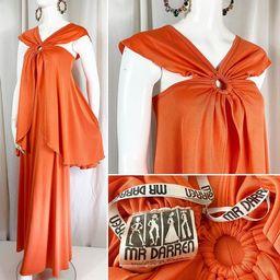 1970's Apricot Draped Jersey Dress featuring Cape Detail ... UK 10 ... Label: Mr Darren  / London...   Etsy (US)