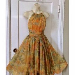 Saks Fifth Avenue Vintage Dress - Yellow Water-Color Floral Crepe Chiffon 1960's Vintage Fit-an...   Etsy (US)