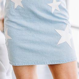 Star Gazer Light Denim Star Printed Skirt | The Mint Julep Boutique