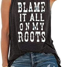 Country Music Tank Tops Women Blame it All On My Roots Tank Tops Letter Print Shirt Summer Sleeve...   Amazon (US)