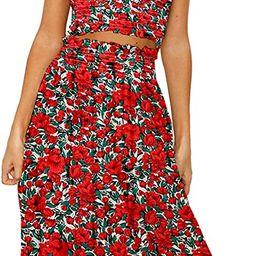 Angashion Women's Floral Crop Top Maxi Skirt Set 2 Piece Outfit Dress | Amazon (US)