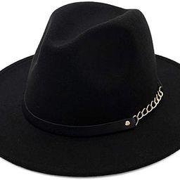 HUDANHUWEI Women's Wide Brim Fedora Panama Hat with Metal Belt Buckle | Amazon (US)