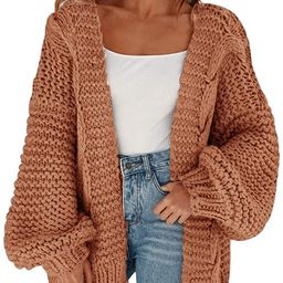 Cicy Bell Women's Open Front Chunky Knit Cardigan Loose Lantern Sleeve Oversized Sweater Coats | Amazon (US)