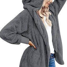 Yanekop Womens Fuzzy Fleece Open Front Hooded Cardigan Jackets Sherpa Coat with Pockets   Amazon (US)