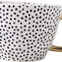 Large Stoneware Coffee Mug Modern Coffee Mugs Tea Cups with Golden Handle Ceramic -White and Blac... | Amazon (US)
