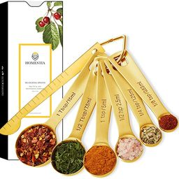 Gold Measuring Spoons Heavy Duty 18/8 Stainless Steel Measuring Set of 6 with Leveler includes: /... | Amazon (US)