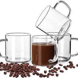 LUXU Glass Coffee Mugs Set of 4,Large Wide Mouth Mocha Hot Beverage Mugs (14oz),Clear Espresso Cu... | Amazon (US)