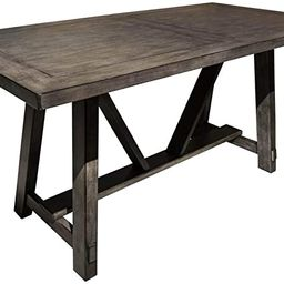 """Home Fare Farmhouse Style Wood Trestle 60"""" Dining Table in Rustic Brown 