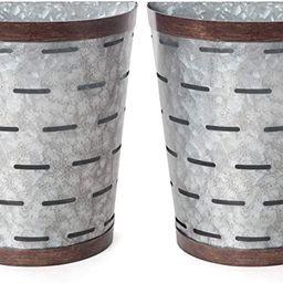 Mkono Galvanized Wall Planter Metal Bucket, Set of 2 Farmhouse Hanging Wall Vase Planters for Cot... | Amazon (US)