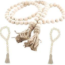 Sivya 3Pcs Wood Bead Garland Set, Farmhouse Beads with Tassels Wall Hanging Décor   Amazon (US)
