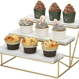 MyGift 3-Tier Whitewashed Wood & Gold Metal Tabletop Cupcake Dessert Display Riser Rack Stand   Amazon (US)