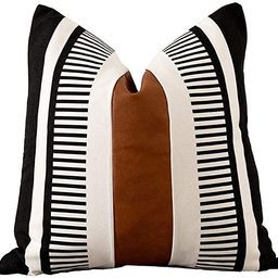 Vfuty Farmhouse Throw Pillow Covers for Couch Sofa Decorative Faux Leather Square Cushion Cover T...   Amazon (US)