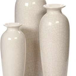 Hosley Set of 3 Crackle Ivory Ceramic Vases. Ideal Gift for Wedding or Special Occasions for Use ...   Amazon (US)
