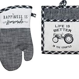 4 Piece Black and White Farmhouse Country Kitchen Linen Set - 2 Towels, Oven Mitt and Pocket Pot ...   Amazon (US)