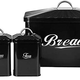 X649 Black Metal Home Kitchen Gifts Bread Bin/Box/Container Biscuit Tea Coffee Sugar Tin Canister...   Amazon (US)