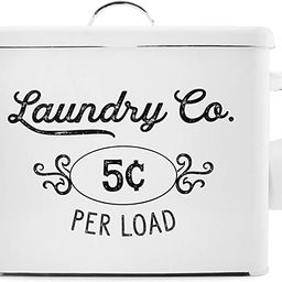 AuldHome Farmhouse Laundry Powder Container, White Enamelware Detergent Bin with Scoop   Amazon (US)
