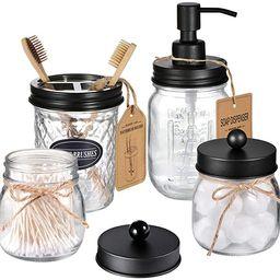 Amolliar Mason Jar Bathroom Accessories Set 4 Pcs -Lotion Soap Dispenser & 2 Cotton Swab Holders ...   Amazon (US)