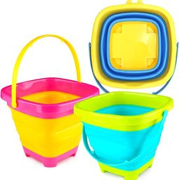 3 otters 3PCS Foldable Bucket, Foldable Pail Bucket Sand Buckets Silicone Collapsible Bucket, for... | Amazon (US)
