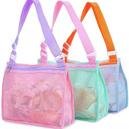 Beach Toy Mesh Bag Kids Shell Collecting Bag Beach Sand Toy Totes for Holding Shells Beach Toys S... | Amazon (US)