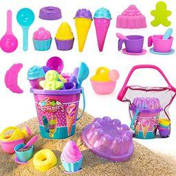 NextX Kids Beach Sand Toys, 24 Pcs Sand Tools with Buckets, Mesh Bag, Ice Cream Mold Set for Todd... | Amazon (US)