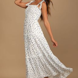 Blooming Perfection White Floral Print Tie-Strap Smocked Dress | Lulus (US)