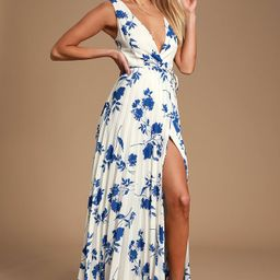 Lindsie Blue and White Floral Print Pleated Wrap Maxi Dress | Lulus (US)
