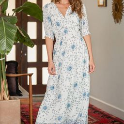 Perfect Days White Floral Print Surplice Midi Dress | Lulus (US)