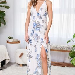 Summer of It All White and Blue Floral Print Maxi Dress | Lulus (US)