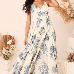 Elegantly Inclined Cream and Blue Floral Print Wrap Maxi Dress | Lulus (US)