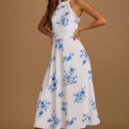 Summer Dream Blue Floral Print Tie-Back Halter Midi Dress | Lulus (US)