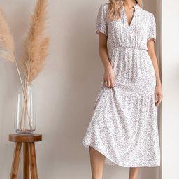 Flourish With Me White Floral Print Tiered Midi Dress | Lulus (US)