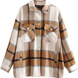 TWOWYHI Women Shacket Oversized Flannel Plaid Shirt Jacket for Women Long Sleeve Button Down Jack...   Amazon (US)